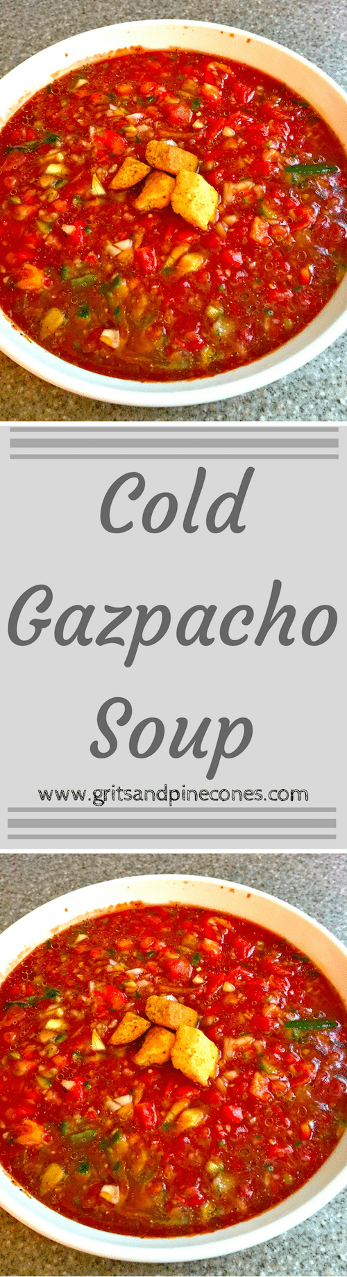 Gazpacho (pronounced gaz·pa·cho) is a Spanish-style soup made from tomatoes, and it is a delicious, no-cook, low calorie and healthy soup!