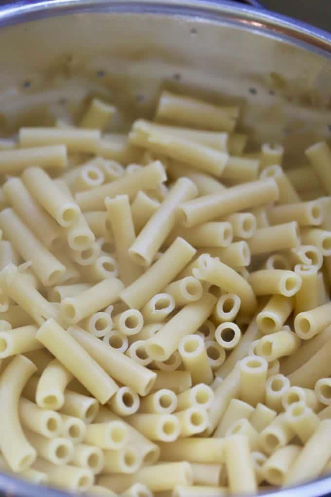 Cooked pasta for Easy Chicken Mushroom Marsala Pasta