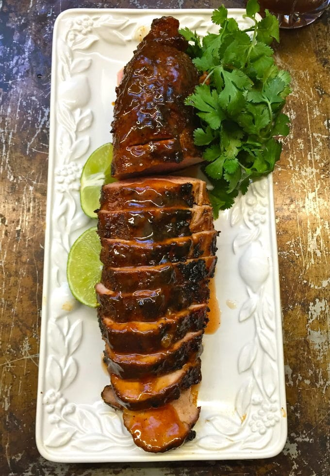 Chili Rubbed Pork Tenderloin with Apricot Glaze ready to eat