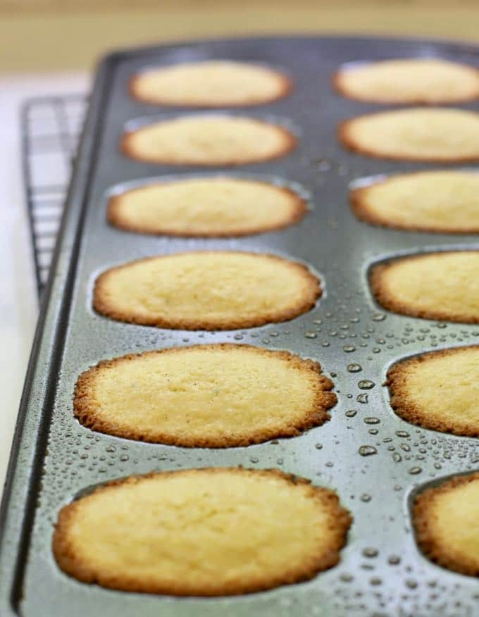 Madeleines in a madeleine pan just out of the oven.