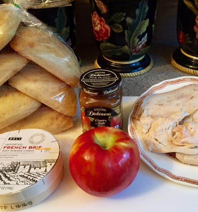 Ingredients for Ultimate Turkey Apple Brie Panini including apples, turkey, apple butter and brie cheese