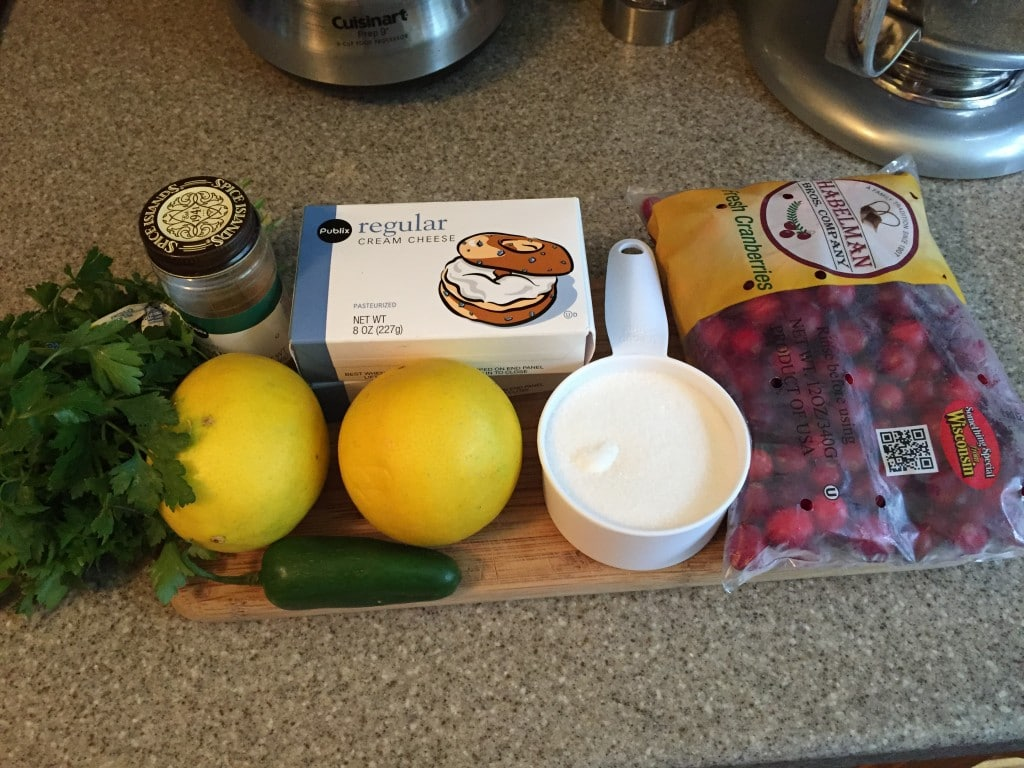Ingredients for Cranberry Jalapeno Cream Cheese Dip