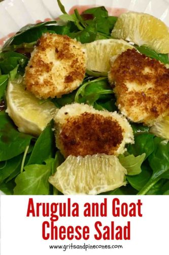 Arugula and Goat Cheese Salad Pinterest pin.