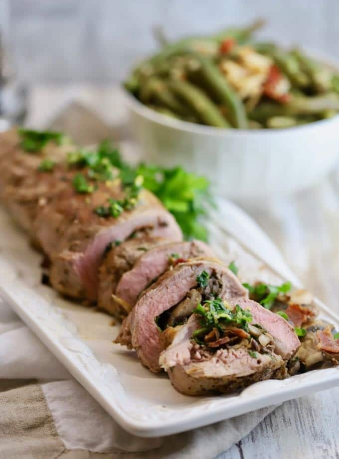 Flavorful Bacon and Mushroom Stuffed Tenderloin