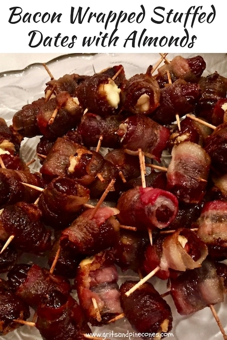 Sweet and luscious Bacon-Wrapped Stuffed Dates with Almonds are a delicious appetizer and will be the star of the show at any holiday party or game day bash!