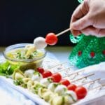 Simple Make-Ahead Caprese Skewers with Pesto Dressing ready for the party
