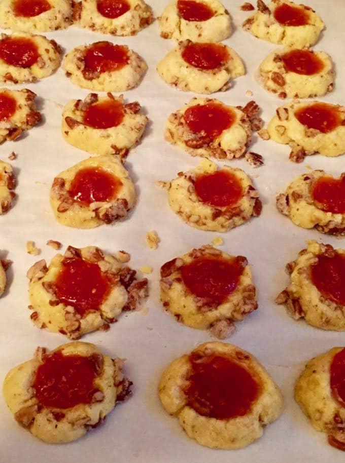 Cornmeal Cookies with Tomato Jam on a baking sheet