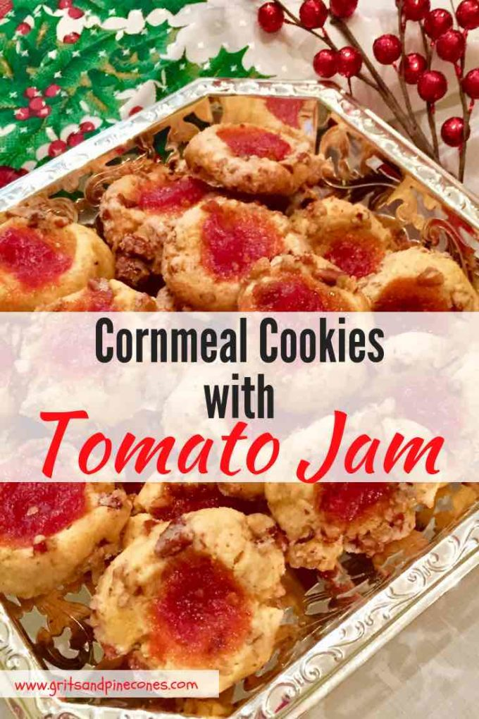 Sweet, savory, and crunchy Cornmeal Cookies with Tomato Jam are the perfect unique Christmas cookie and holiday appetizer, and this Southern recipe is an exceptional substitute for the usual chips and dip party fare. They also make a wonderful homemade food gift for friends and family! Bet you can't eat just one!