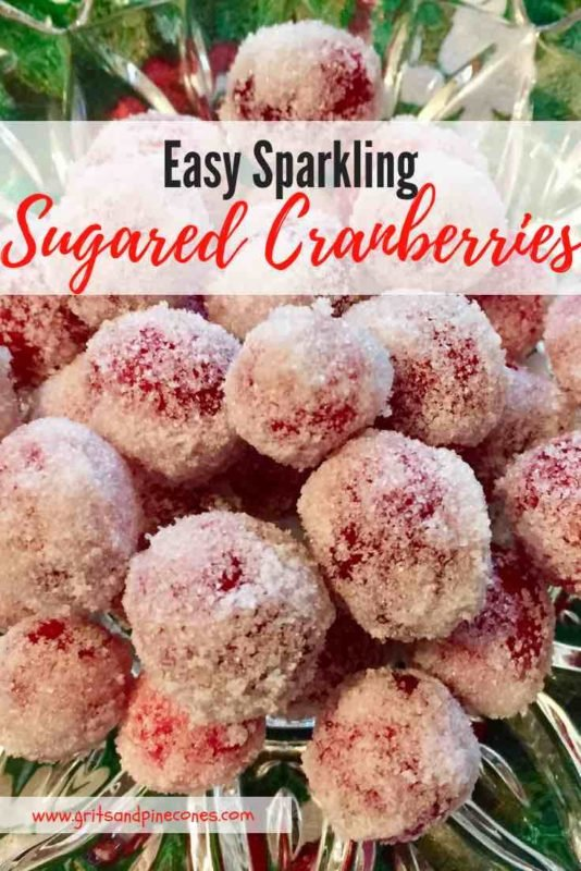 Easy Sparkling Sugared Cranberries Pinterest pin