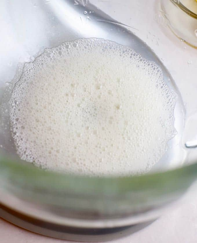 Egg whites beaten until they are foamy.