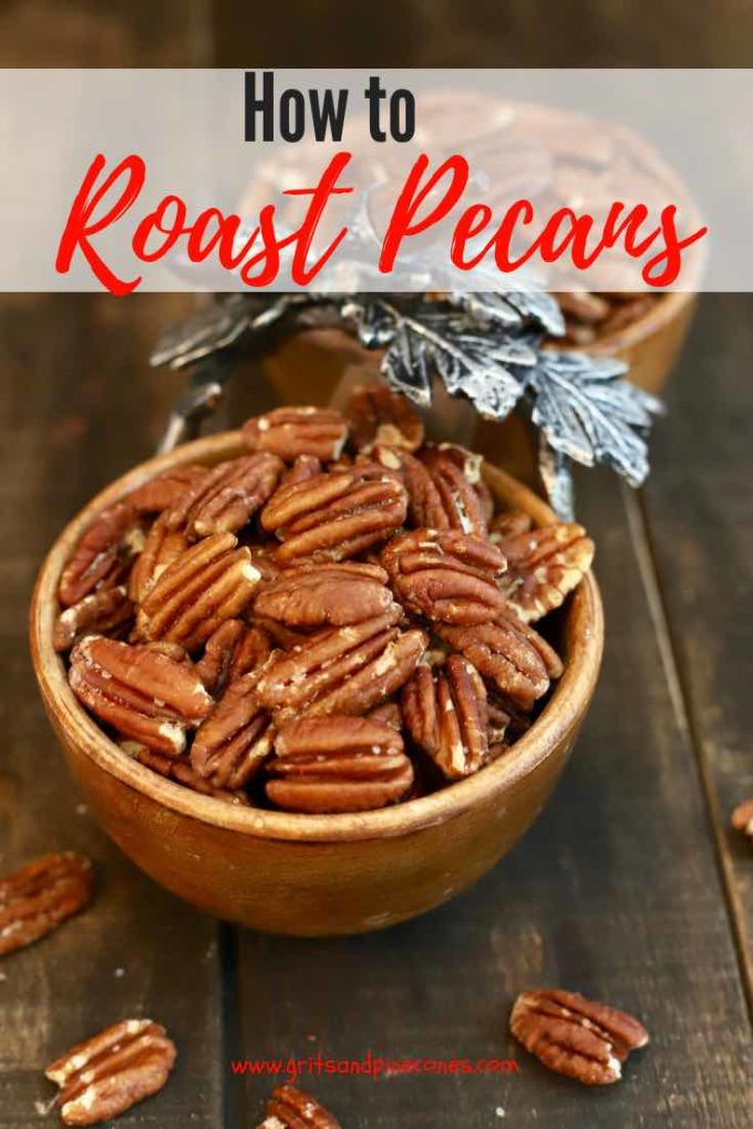 Quick and easy roasted or toasted pecans are a staple in the South, and when a recipe calls for roasted or toasted nuts, you can bet it will be pecans. Roasted pecans can almost always be substituted for other nuts in a recipe and they make a terrific, healthy snack or appetizer. #gritsandpinecones, #pecans, #holidayrecipes, #roastedpecans, #toastedpecans, #party, #appetizers, #snacks