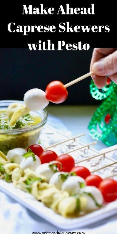 Make-Ahead Caprese Skewers with Pesto dressing is simple, yet delicious, a family favorite, and the perfect festive appetizer to serve your holiday guests. #appetizerrecipes, #appetizers, #partyfood, #christmasrecipes, #christmasappetizers, #christmaspartyrecipes, #capreseskewers