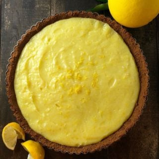 Meyer Lemon Tart with Gingersnap Crust ready to serve.