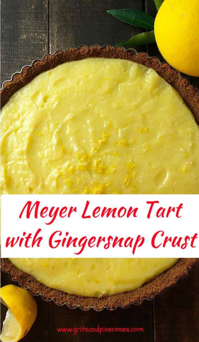 When life gives you Meyer lemons, you need an easy lemon tart recipe! One biteof this luscious, tangy Meyer Lemon Tart with itscrisp, crunchy gingersnap crust will have your taste buds singing theHallelujah chorusand wanting more.  Simple and delicious it's the perfect Christmas dessert! #christmasdessert, #lemontartrecipe, #meyerlemons