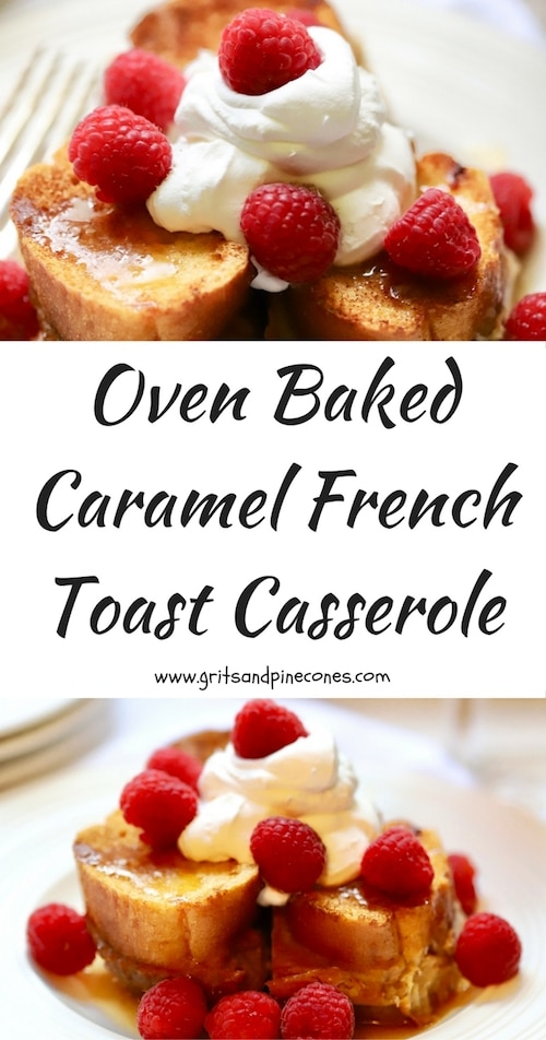 This Oven Baked Caramel French Toast Casserole is an easy, make-ahead, delicious and decadent Christmas breakfast or brunch entrée with creamy sweet caramel and luscious custard.  #frenchtoastcasserole, #christmasbreakfastcasserole, #christmasbreakfast, #brunchrecipes, #breakfastrecipes, #breakfastcasseroles,