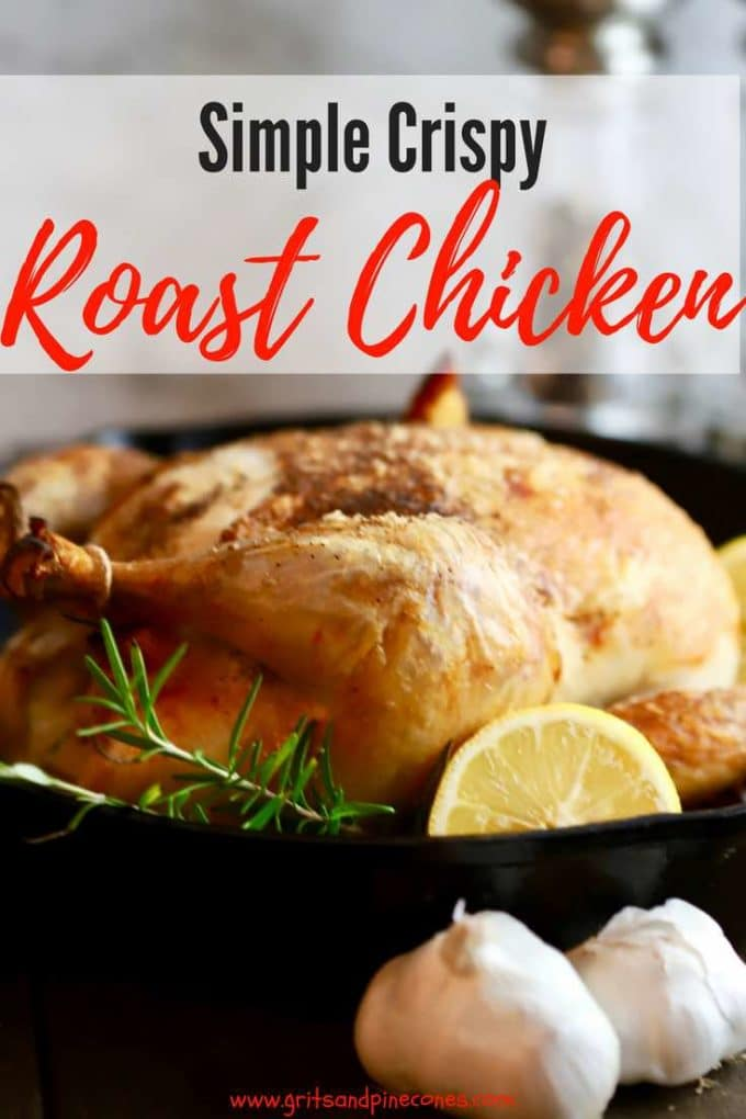 This is the best Simple Crispy Roast Chicken recipe. A whole chicken is cooked in the oven, in a cast iron skillet, simple crispy roast chicken has deliciously crisp skin,and the meat is tender,juicy and packed with flavor. This healthy roast chicken is easy enough for a weeknight dinner but it's also fancy enough for company or Sunday supper! #sundaysupper, #dinner, #chicken, #chickenrecipes, #easydinner, #dinnerrecipe,