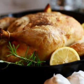 Simple Crispy Roast Chicken in a cast iron skillet