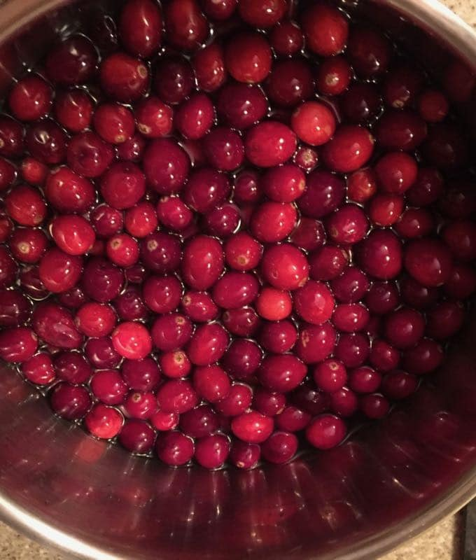 Cranberries, sugar and water cooking for Sparkling Sugared Cranberries