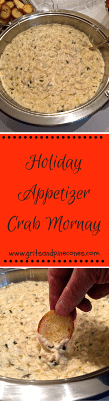This fabulous and rich Crab Mornay makes a wonderful Christmas party appetizer or an easy cocktail party finger food.www.gritsandpinecones.com