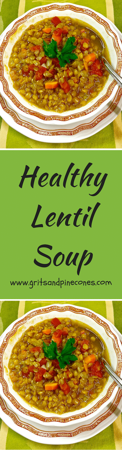 Full of veggies & protein packed lentils, this delicious soup is low in calories and full of vitamins, plus iron, folate, and fiber.