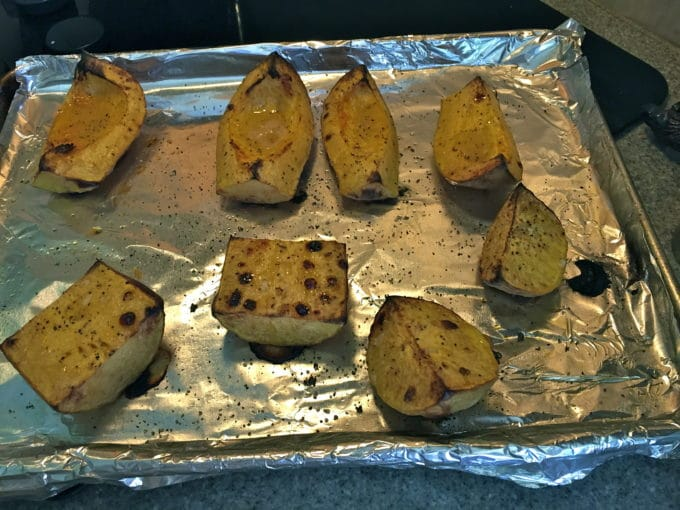 Pieces of roasted butternut squash just out of the oven.