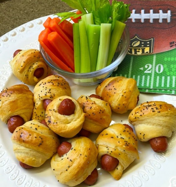 Pigs in a Blanket with carrots and celery
