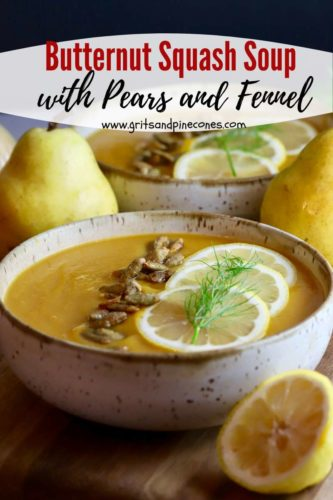 Pinterest pin for butternut squash and pear soup.