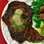 Chili Rubbed Ribeye Steak with Maple Bourbon Butter