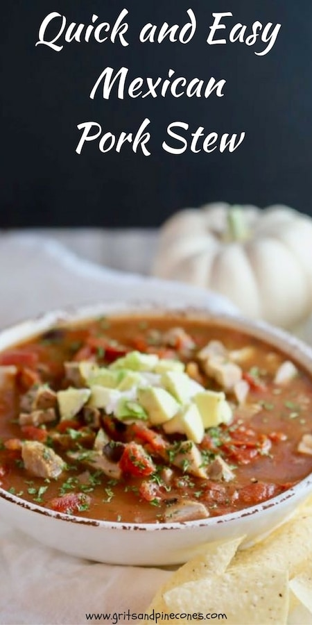 You have to try Quick and Easy Mexican Pork Stew! It only takes 15 minutes to make and salsa verde and fire-roasted tomatoes give it a tasty southwestern flavor. #stewrecipe, #porkrecipes, #porkstew, #porkstewrecipe, #healthystewrecipe, #comfortfood