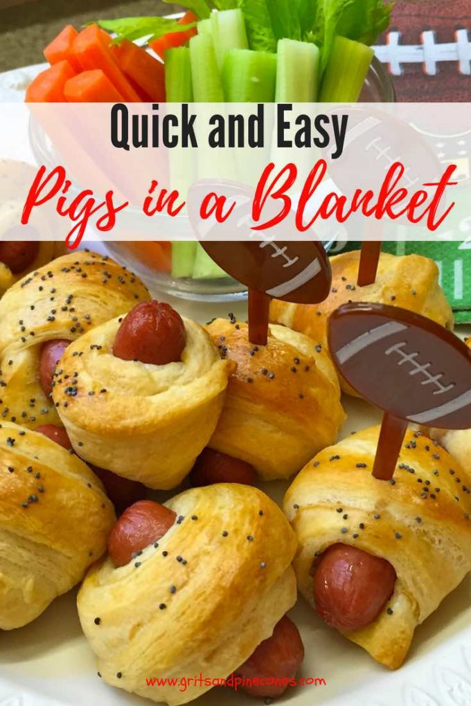 This Quick and Easy Pigs in a Blanket recipe isn't but it's a classic and delicious game day and tailgate party treat that your guests will devour. This easy recipe which crescent rolls and mini hot dogs also includes a special sauce just for dipping your Pigs in a Blanket! #gameday, #tailgating, #party, #appetizer, #snacks