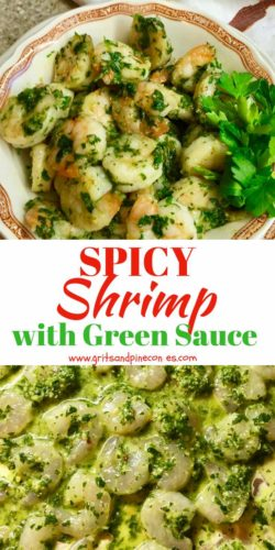 Spicy Shrimp with Green Sauce for Pinterest Pin
