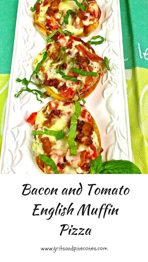 Bacon and Tomato English Muffin Pizza is an easy, cheesy, delicious breakfast pizza that would be perfect for the kids to make for Mom for Mother's Day!