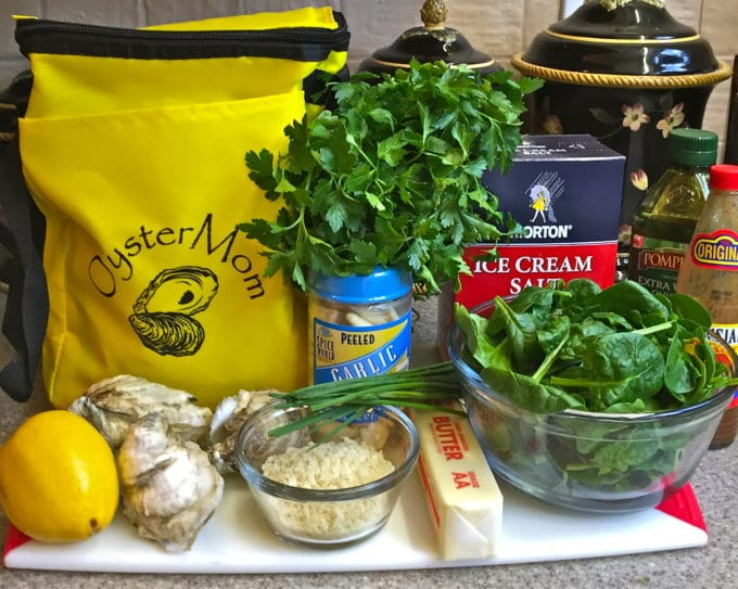 Ingredients includes shucked oysters, rock salt, parmesan cheese, parsley and spinach.