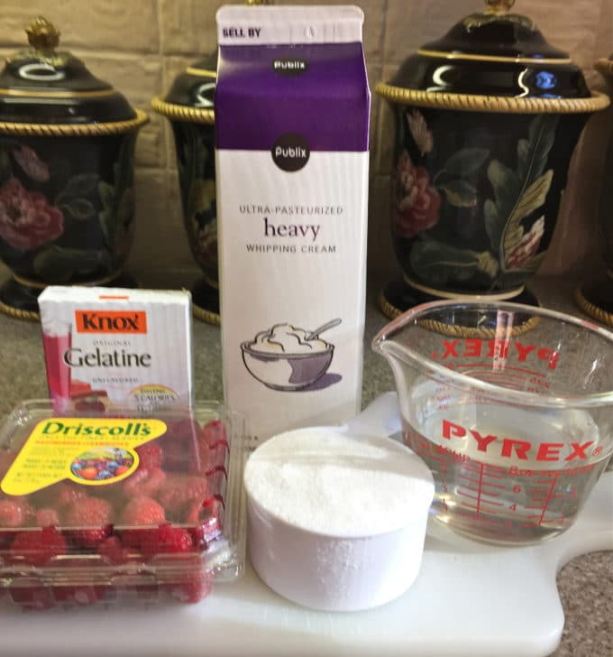 Raspberry Cream Dessert ingredients.