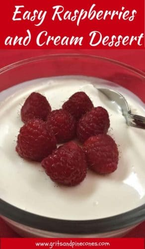 Easy Raspberries and Cream Dessert Pinterest Pin