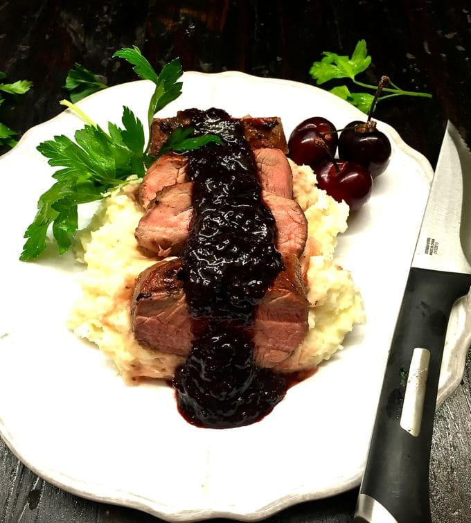 Grilled Pork Tenderloin with Dark Cherry Sauce-1