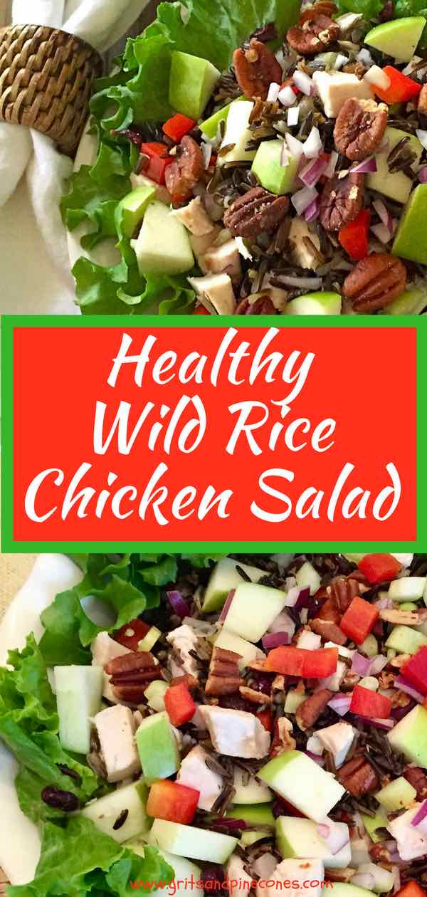 Healthy Wild Rice Chicken Salad is a nutritious and delicious cold wild rice salad recipe which includes tender juicy roasted chicken, nutty wild rice, tart granny smith apples, red bell pepper, celery, and roasted pecans, topped with a light flavorful balsamic vinaigrette.