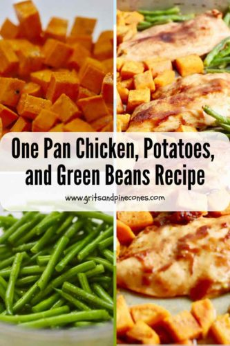 Pinterest pin with sweet potatoes, green beans and BBQ chicken on a sheet pan.