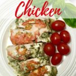Quick and Easy Basil Pesto Chicken Pinterest pin