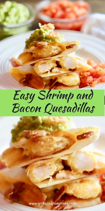 Shrimp and Bacon Quesadillas are delicious and mouth-watering quesadillas full of delicious shrimp, bacon, and melted cheese all wrapped up in a crunchy tortilla.
