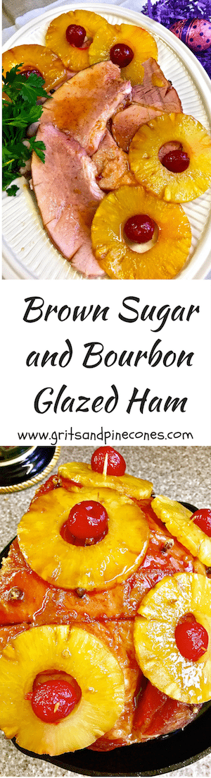 Brown Sugar and Bourbon Glazed Ham covered with pineapple slices, cloves and cherries is the perfect entrée for traditional Easter Dinner