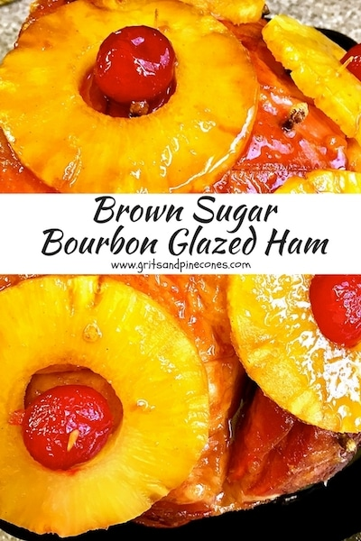 Nothing says Easter dinner or brunch like oven-baked ham, especially this classic Brown Sugar Bourbon Glazed Ham! And, I know you, and your family or guests will love, this simple baked ham recipe complete with traditional pineapple rings and maraschino cherries, and a yummy sticky sweet and savory brown sugar bourbon glaze!