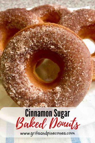 Pinterest pin of cinnamon sugar baked donuts.