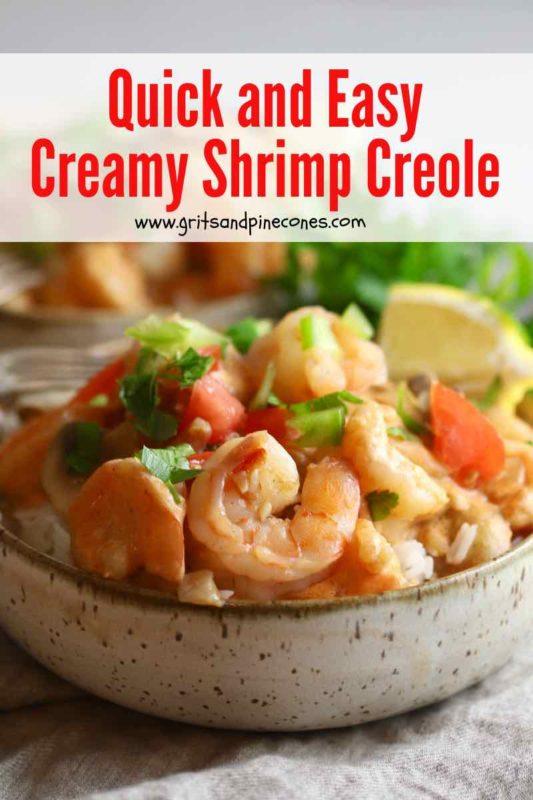 Pinterest pin showing a bowl of creamy shrimp creole over rice.