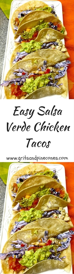 Delicious, healthy, quick and easy Salsa Verde Chicken Tacos are perfect for when you are short on time and motivation and perfect to serve any night of the week or for Cinco de Mayo! #chickenrecipes, #chicken, #easydinnerrecipes, #dinnerrecipesideas, #tacos, #chickentacos, #tacorecipes