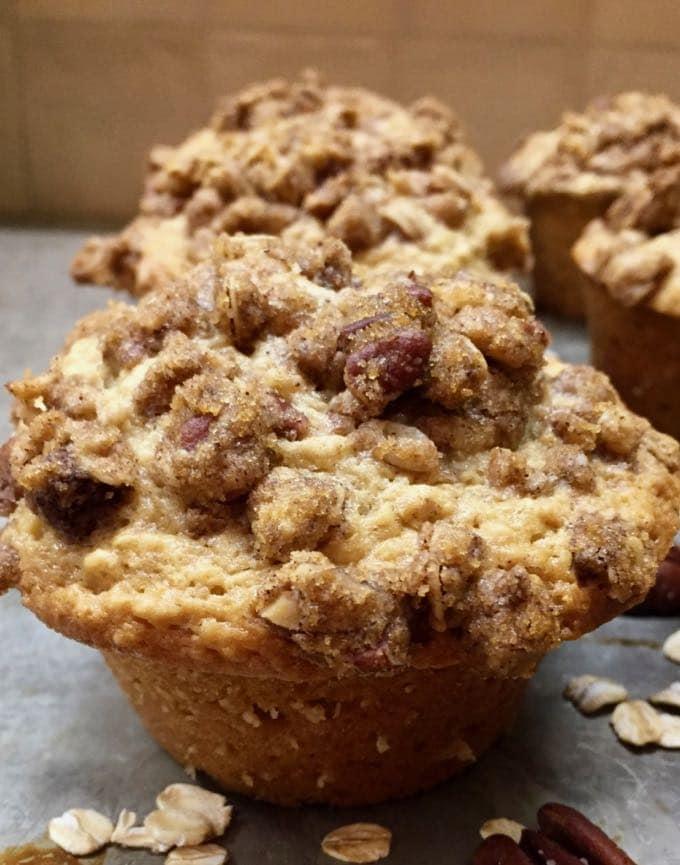 Breakfast oatmeal muffins on a baking sheet.