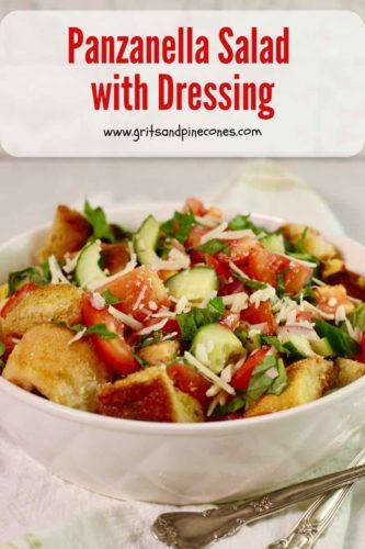 Pinterest pin for Panzanella Salad showing a bowl of salad.