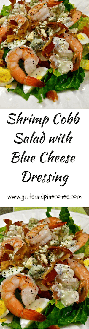 Shrimp Cobb Salad with Blue Cheese Dressing is full of shrimp, bacon, hard-boiled eggs, tomatoes, romaine lettuce and homemade blue cheese dressing.