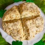 Traditional Irish Soda Bread for St Patrick's Day hot out of the oven and ready to serve