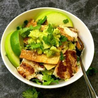 Fish Taco Bowls with Green Apple Guacamole